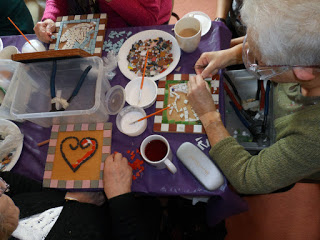mosaic session at Trowbridge Arts Together group