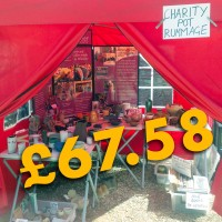 The red gazebo and stall at the Cloth Road Arts Week