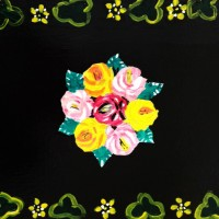 Canal folk art painting of roses on black background