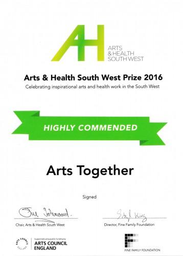 The award certificate