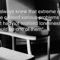 "Photo of empty chairs with the caption ""I always knew that extreme old age caused various problems but had not realised loneliness would be one of them"""