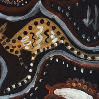 kangaroo image in aboriginal style