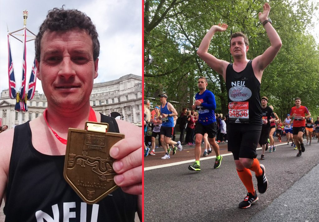 Neil Towers crossing the finishing line at the London Marathon