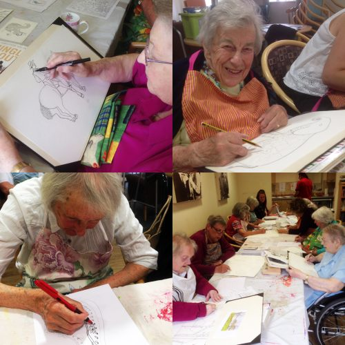 Pewsey members getting started on the illustration project