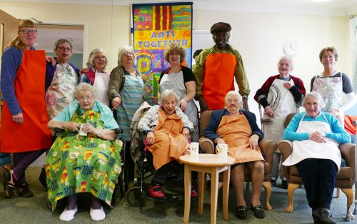 The Pewsey group showing off their new aprons, each one lovingly made by Norma over the Easter break.